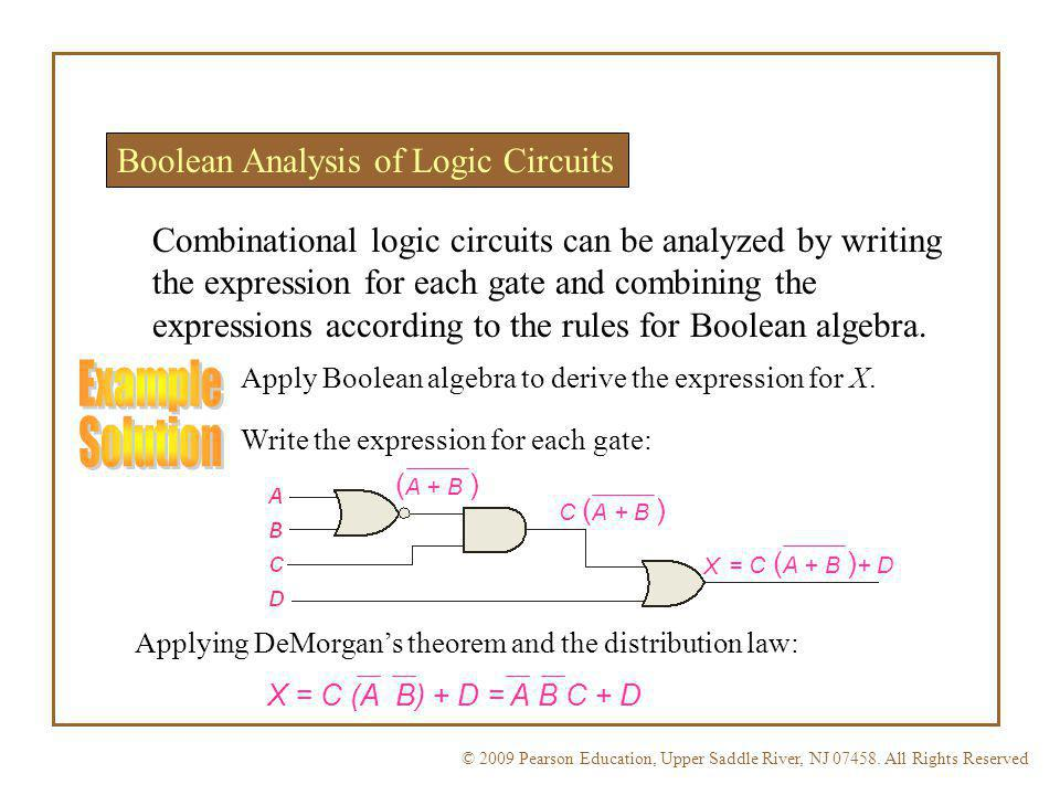 Example Solution Boolean Analysis of Logic Circuits