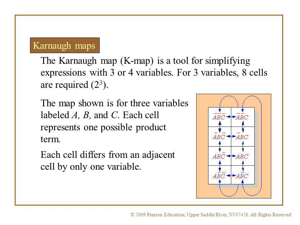 Each cell differs from an adjacent cell by only one variable.