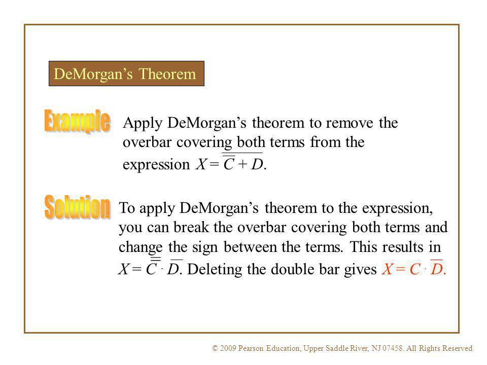 Example Solution = DeMorgan's Theorem