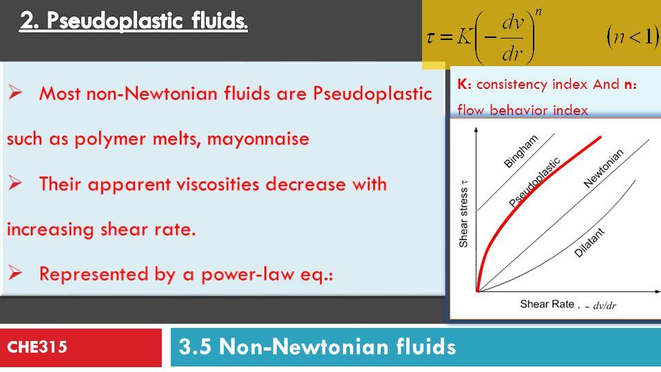 2. Pseudoplastic fluids. 3.5 Non-Newtonian fluids