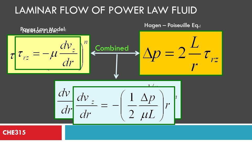 Laminar Flow of Power Law Fluid