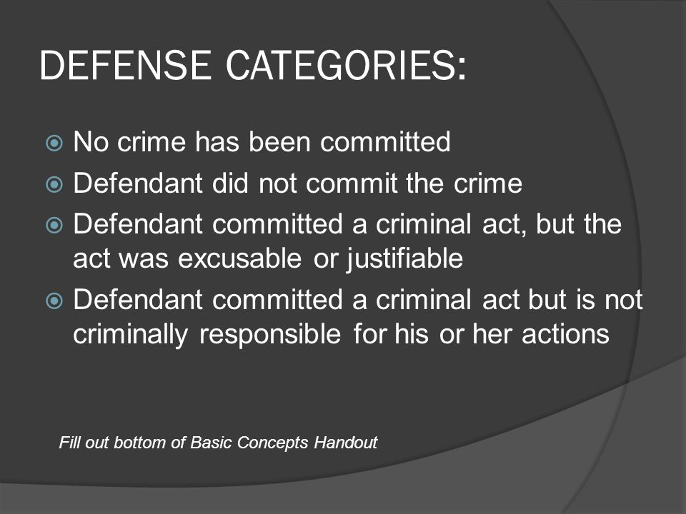 DEFENSE CATEGORIES: No crime has been committed