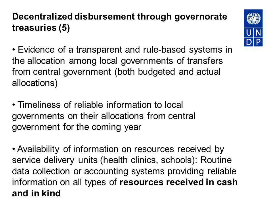 Decentralized disbursement through governorate treasuries (5)