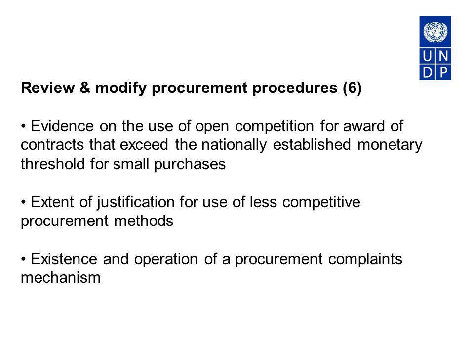 Review & modify procurement procedures (6)