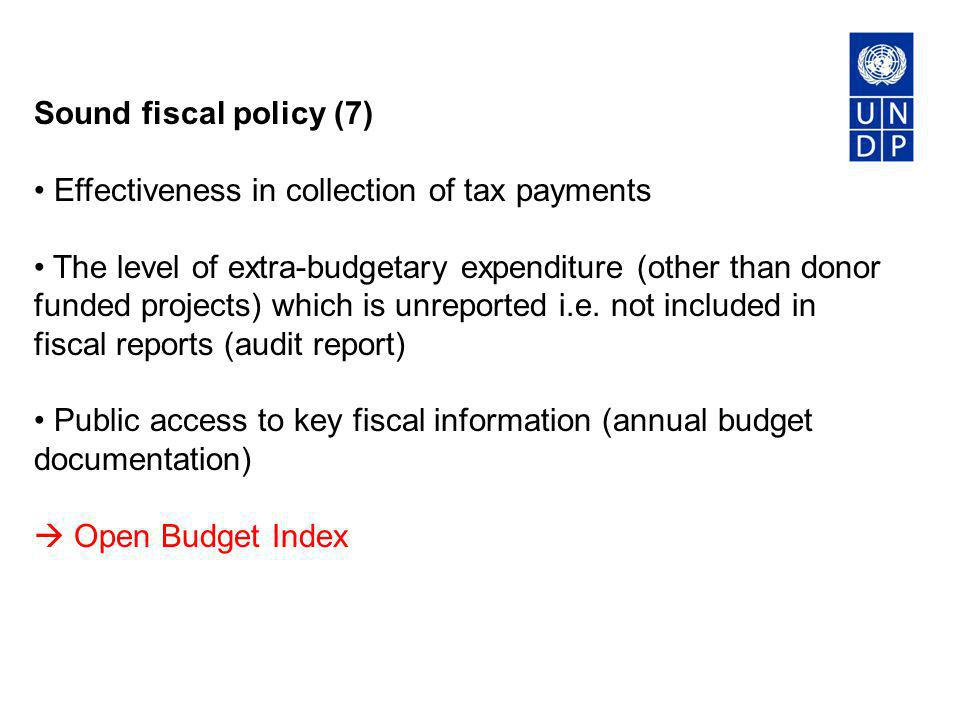Sound fiscal policy (7) Effectiveness in collection of tax payments.