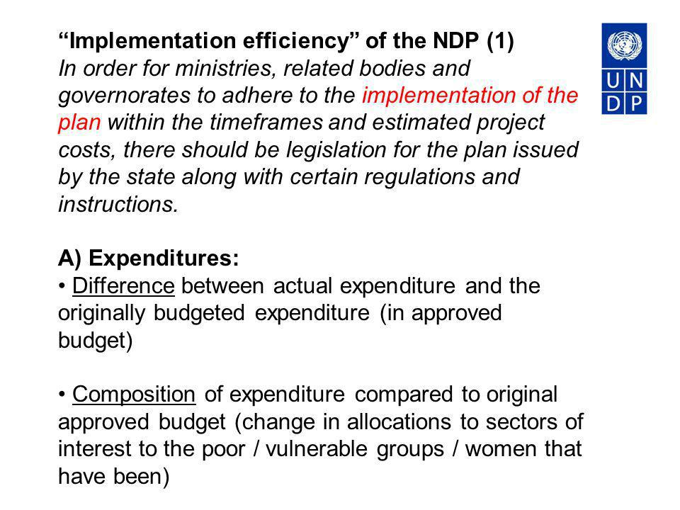 Implementation efficiency of the NDP (1)