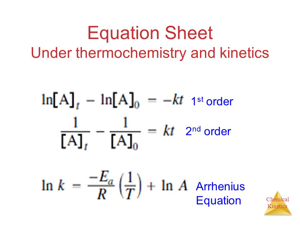 Equation Sheet Under thermochemistry and kinetics