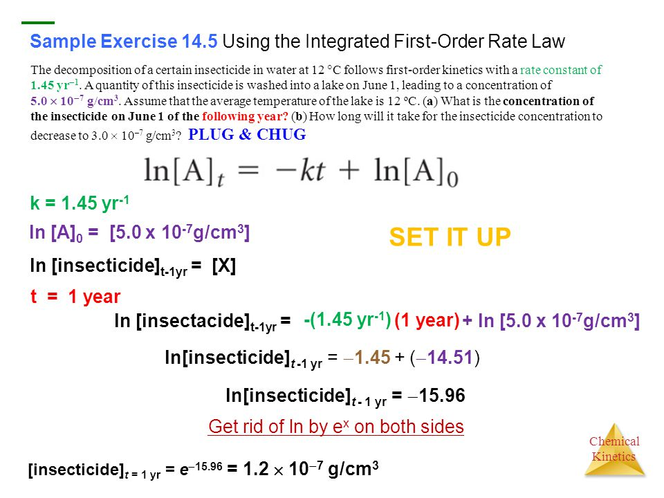 Sample Exercise 14.5 Using the Integrated First-Order Rate Law