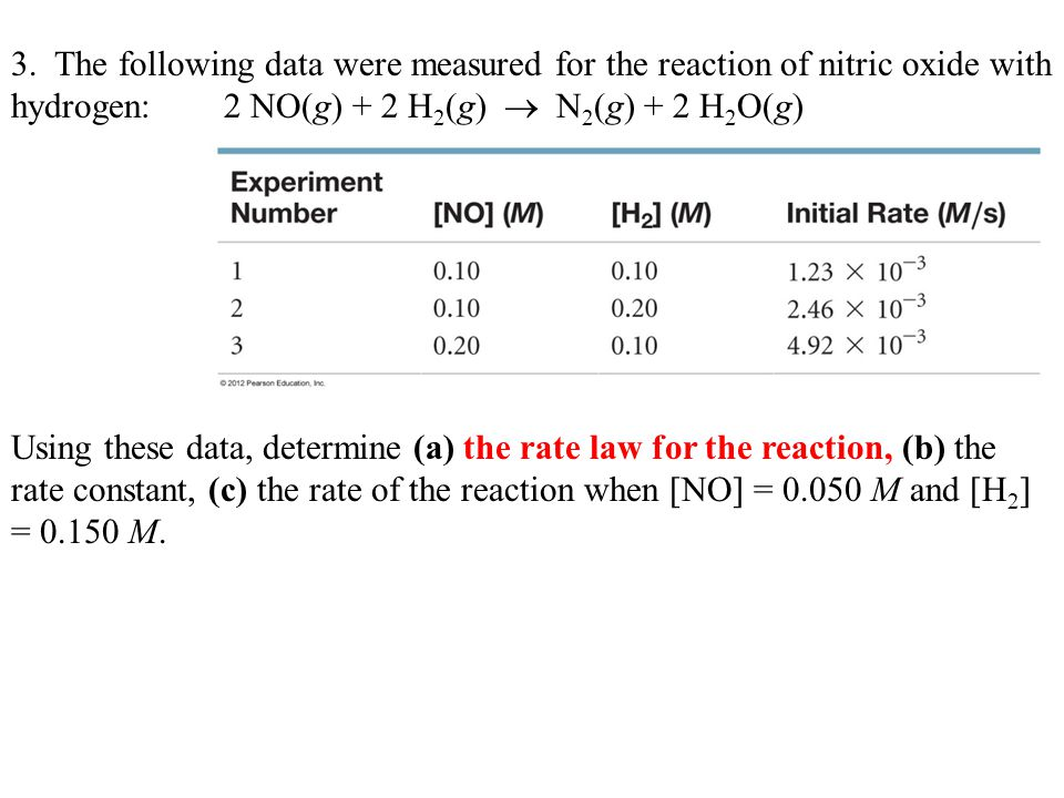 3. The following data were measured for the reaction of nitric oxide with hydrogen: 2 NO(g) + 2 H2(g)  N2(g) + 2 H2O(g)