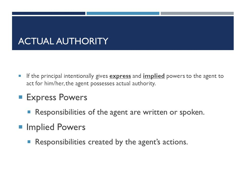 Actual Authority Express Powers Implied Powers