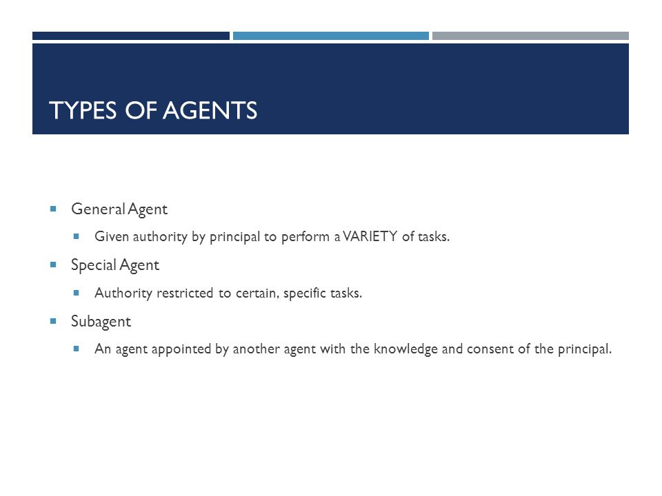 Types of Agents General Agent Special Agent Subagent