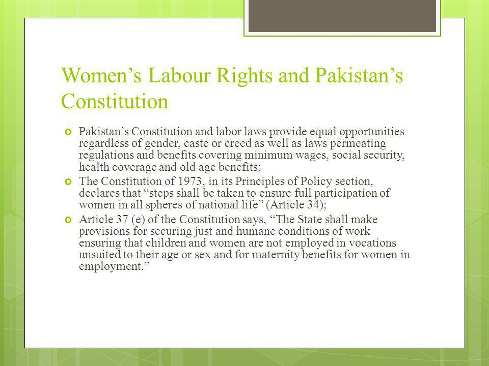Women's Labour Rights and Pakistan's Constitution