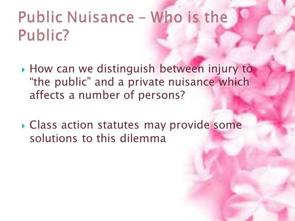 Public Nuisance – Who is the Public