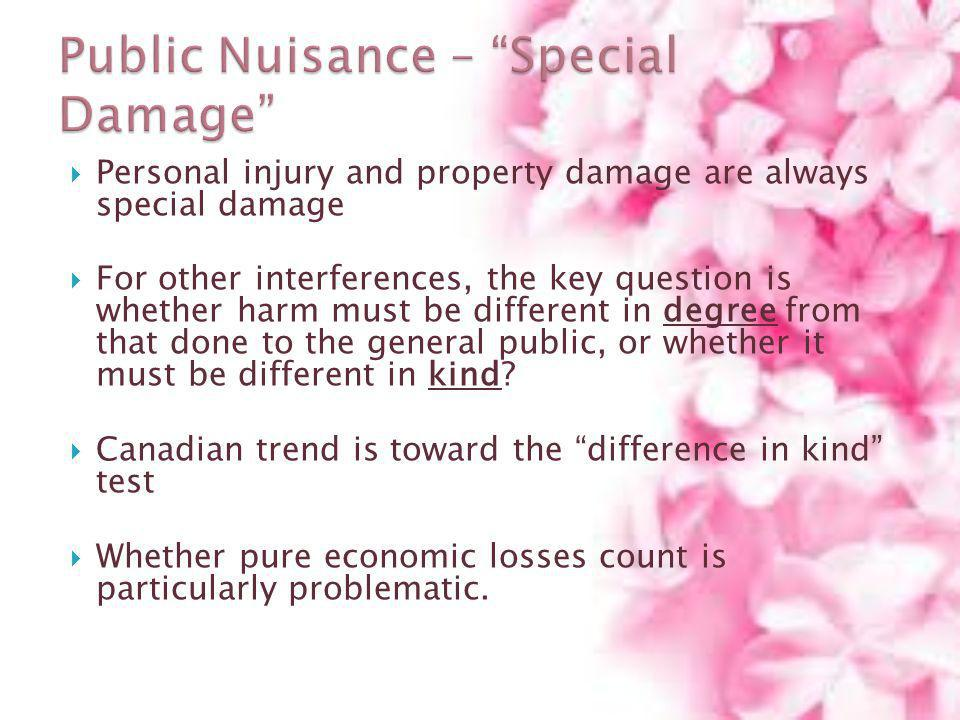 Public Nuisance – Special Damage