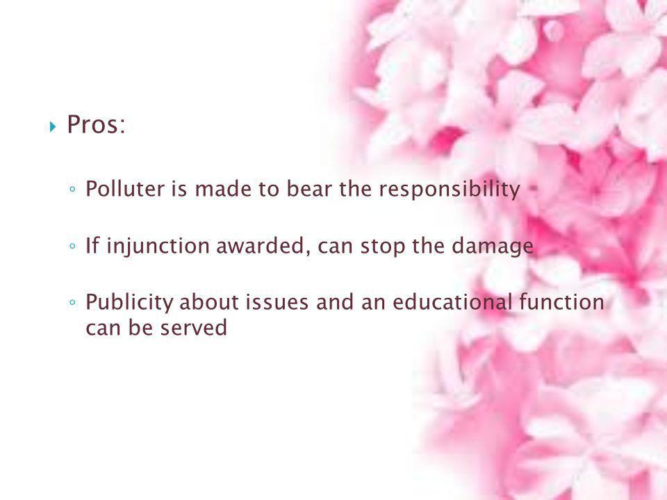Pros: Polluter is made to bear the responsibility
