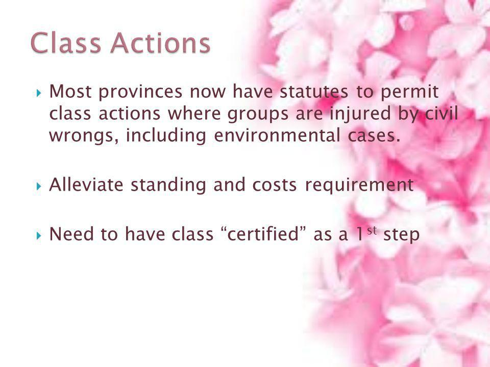 Class Actions Most provinces now have statutes to permit class actions where groups are injured by civil wrongs, including environmental cases.