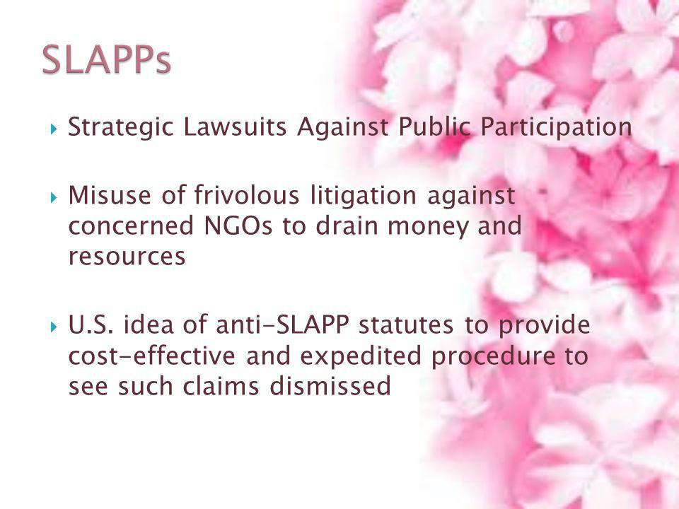 SLAPPs Strategic Lawsuits Against Public Participation
