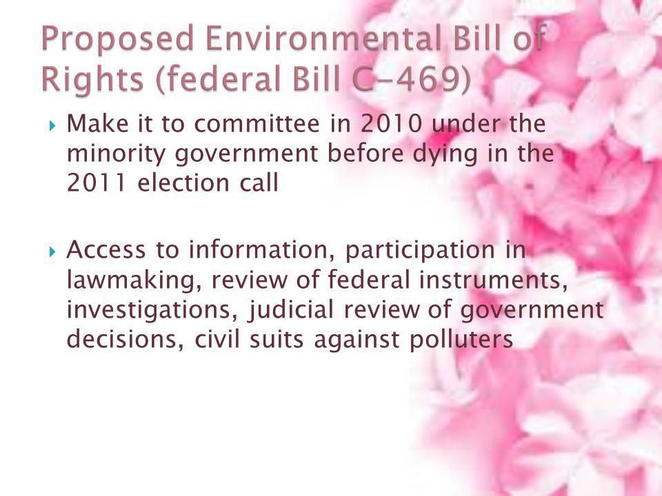 Proposed Environmental Bill of Rights (federal Bill C-469)