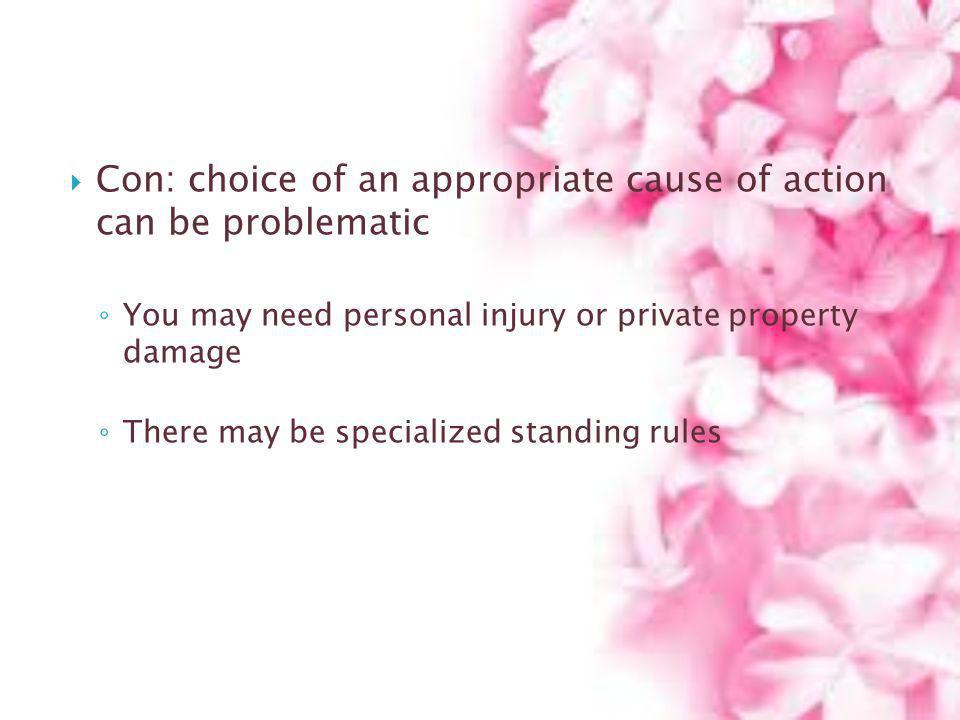 Con: choice of an appropriate cause of action can be problematic