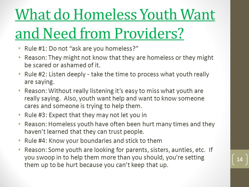 What do Homeless Youth Want and Need from Providers