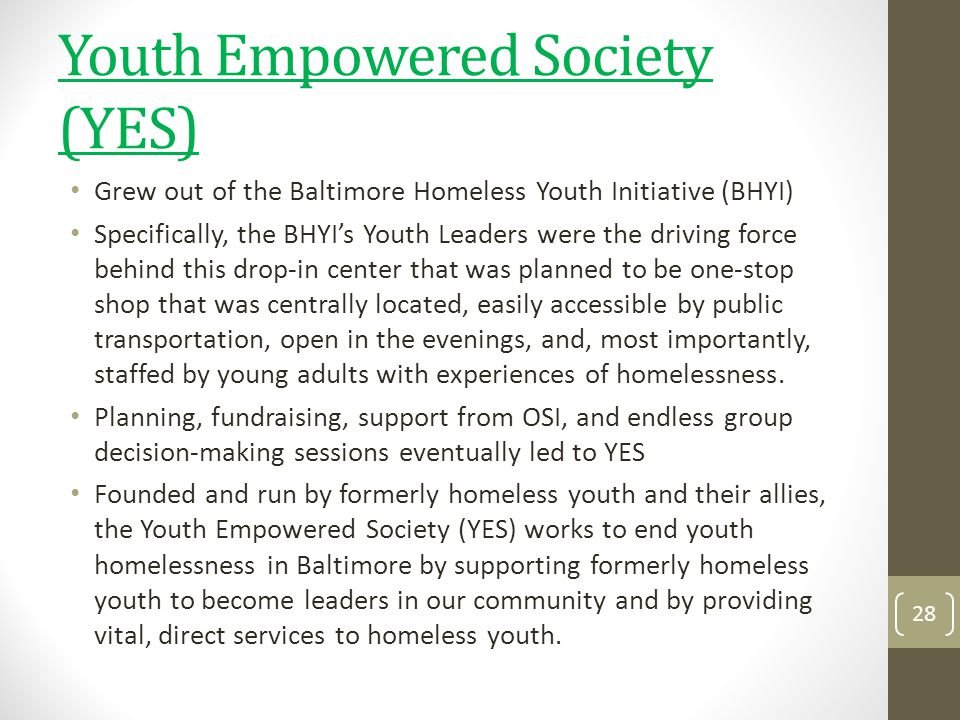 Youth Empowered Society (YES)