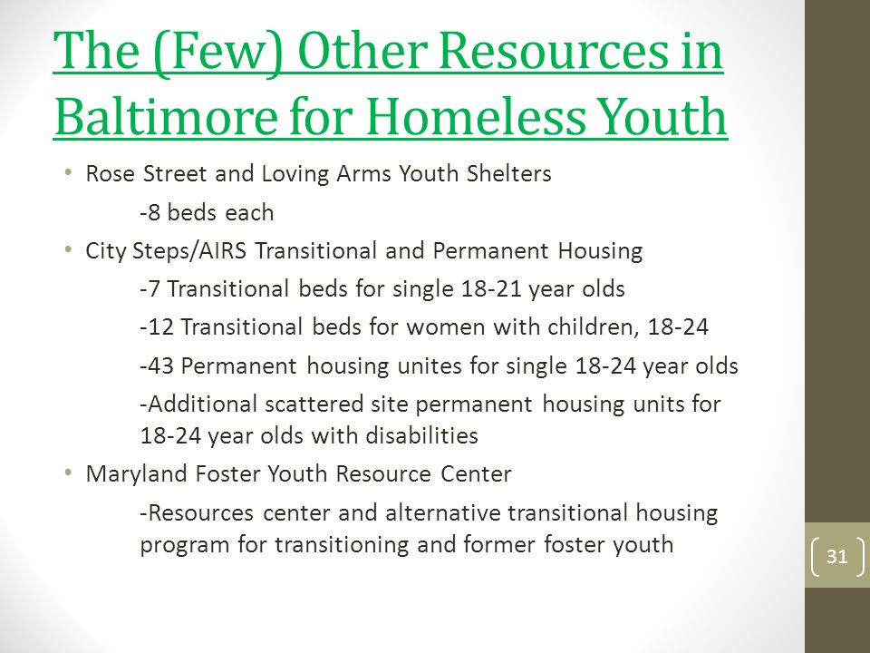 The (Few) Other Resources in Baltimore for Homeless Youth
