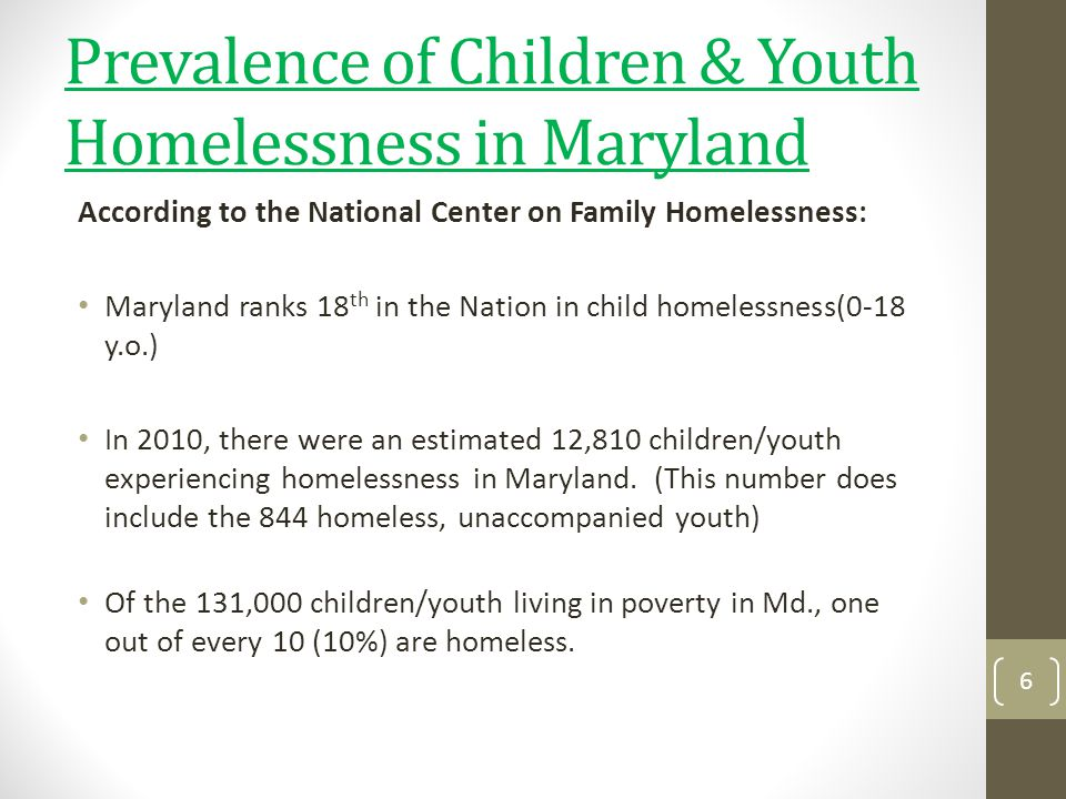 Prevalence of Children & Youth Homelessness in Maryland