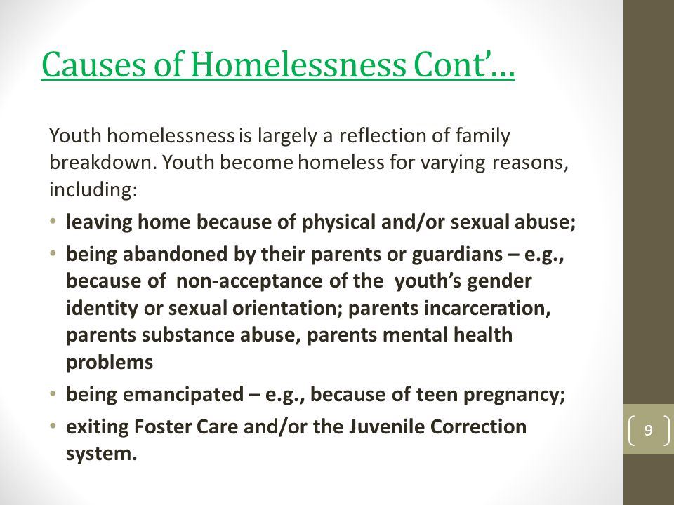 Causes of Homelessness Cont'…