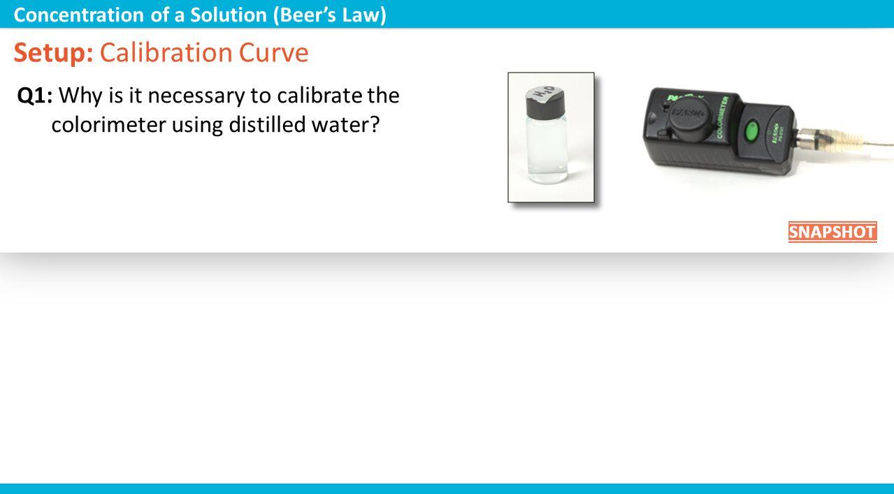 Setup: Calibration Curve