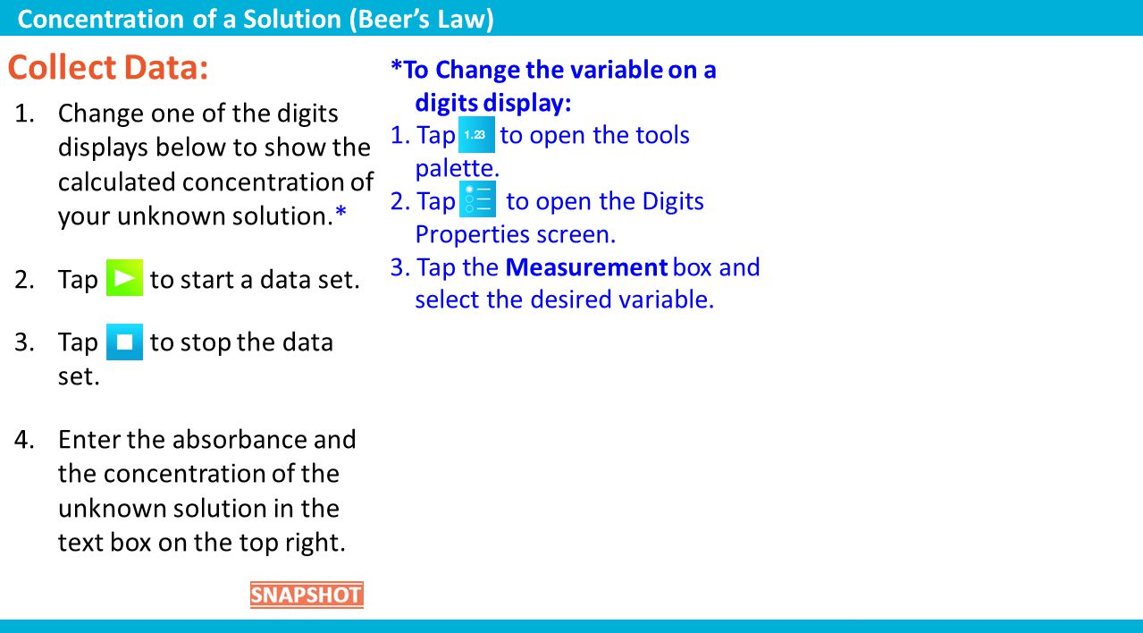 Collect Data: Concentration of a Solution (Beer's Law)