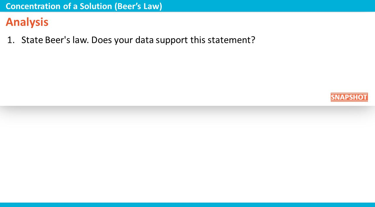 Analysis State Beer s law. Does your data support this statement