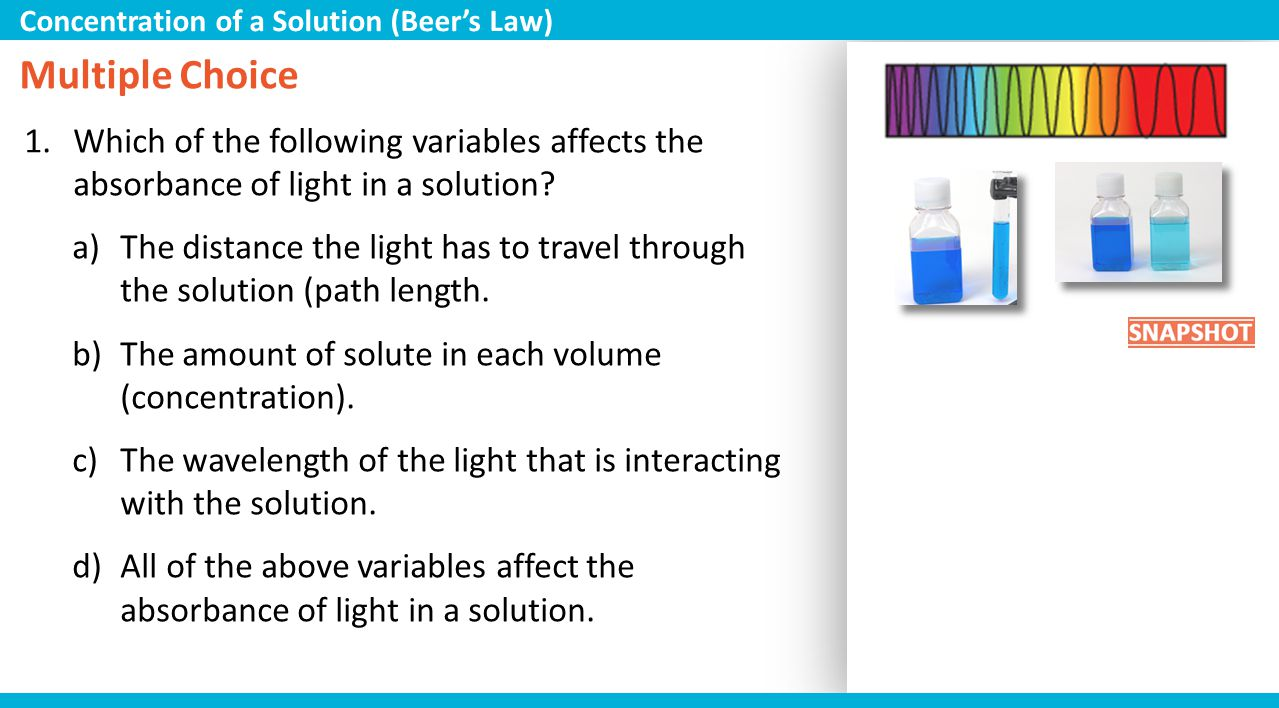 Concentration of a Solution (Beer's Law)