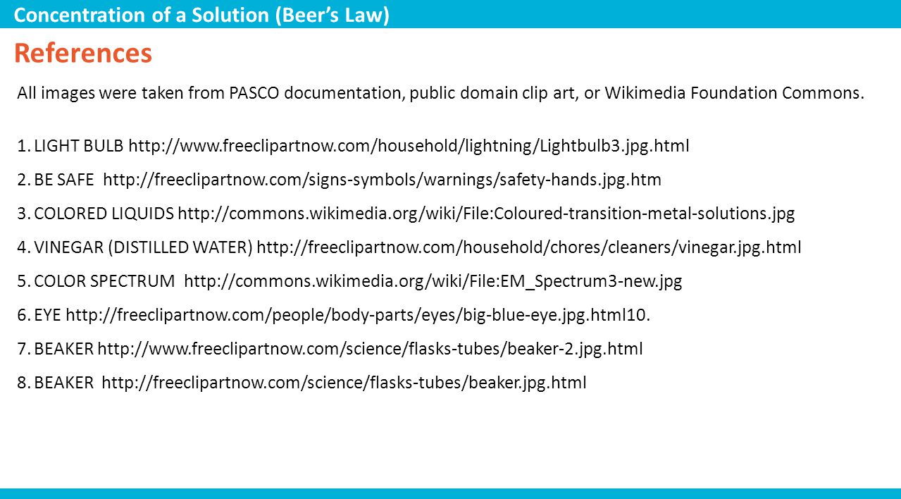 References Concentration of a Solution (Beer's Law)