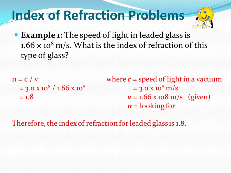 Index of Refraction Problems