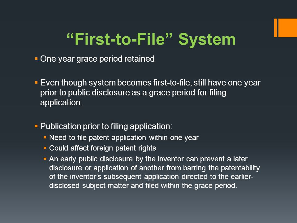 First-to-File System