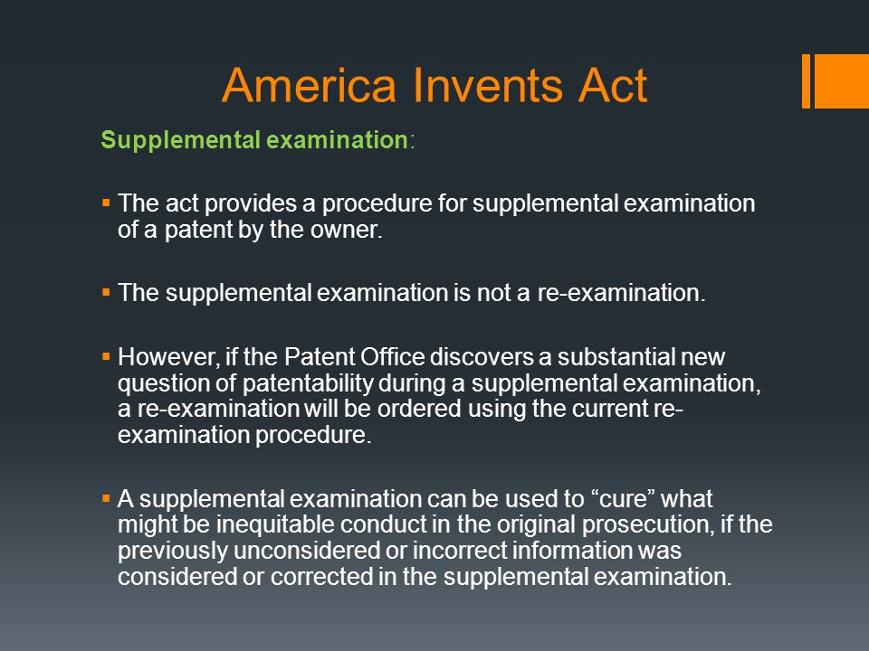 America Invents Act Supplemental examination: