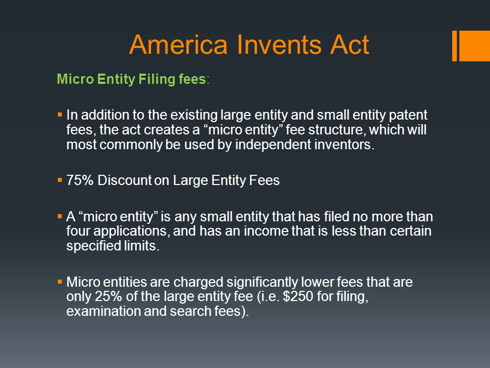 America Invents Act Micro Entity Filing fees: