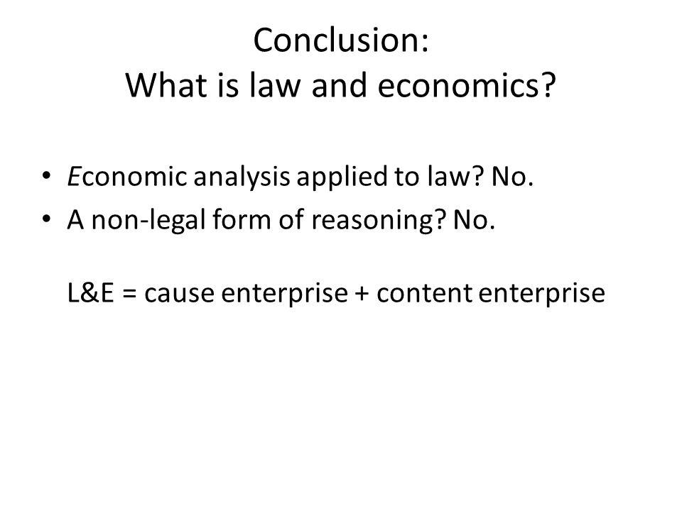 Conclusion: What is law and economics