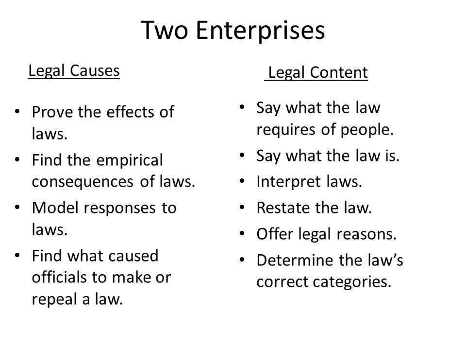 Two Enterprises Legal Causes Legal Content