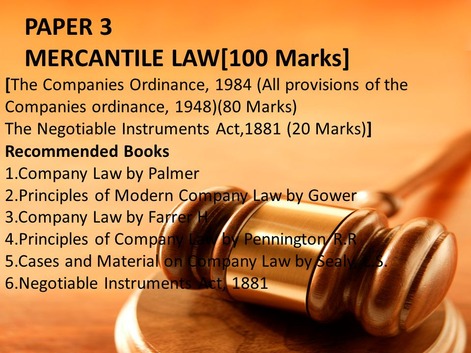 MERCANTILE LAW[100 Marks]