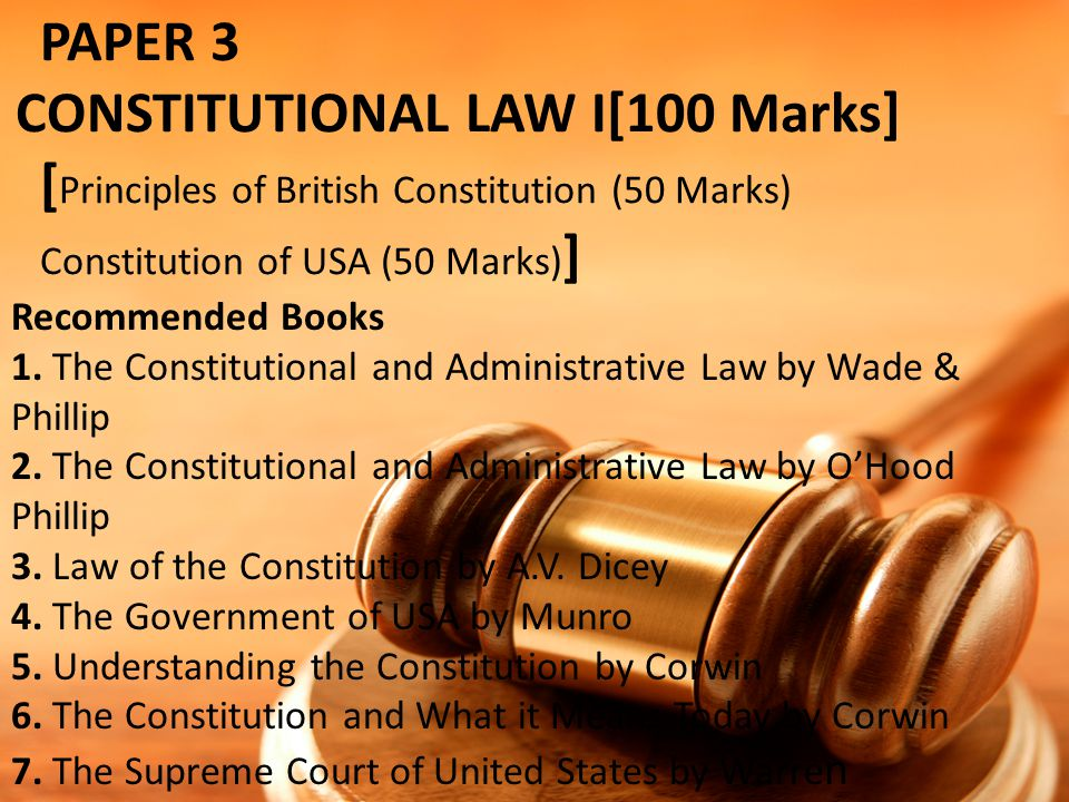PAPER 3. CONSTITUTIONAL LAW I[100 Marks]
