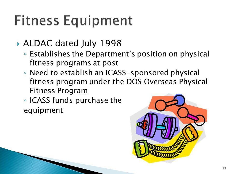 Fitness Equipment ALDAC dated July 1998