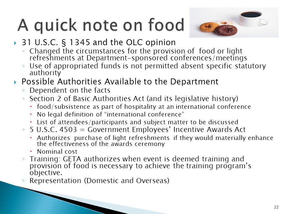 A quick note on food 31 U.S.C. § 1345 and the OLC opinion