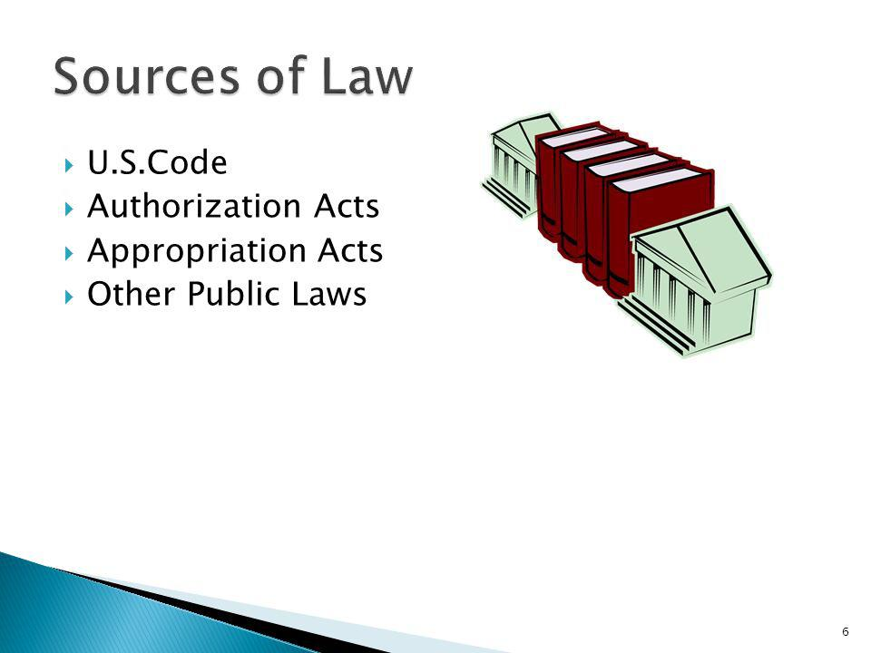 Sources of Law U.S.Code Authorization Acts Appropriation Acts