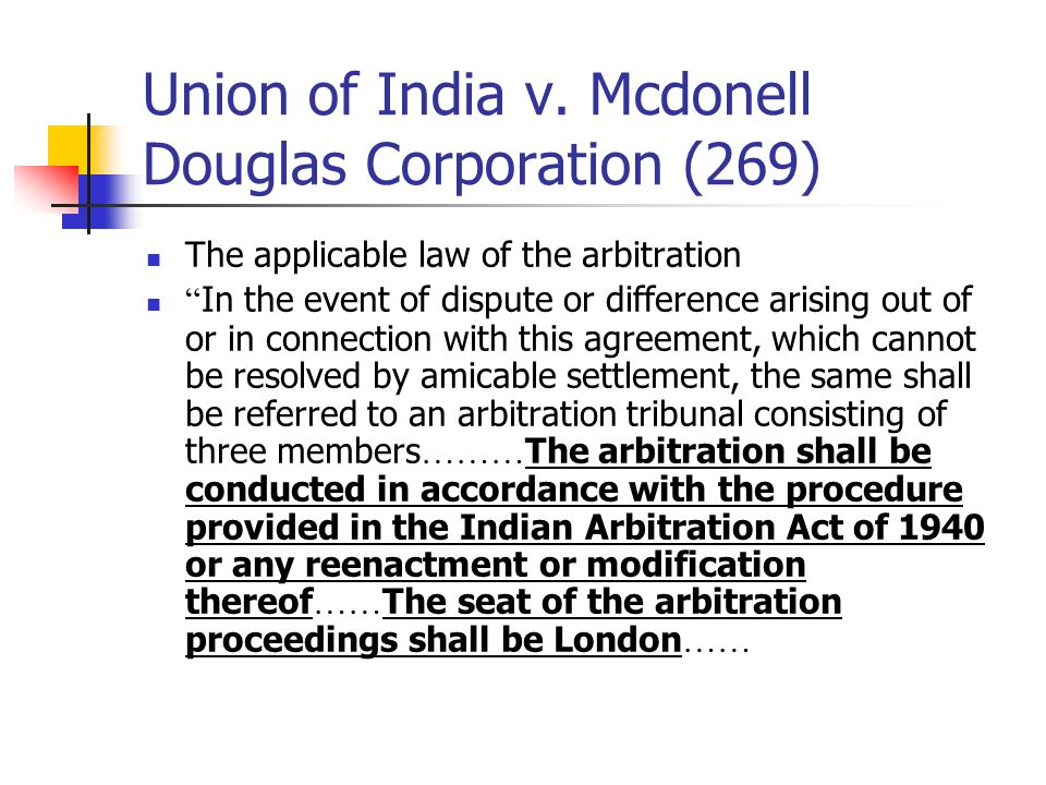 Union of India v. Mcdonell Douglas Corporation (269)