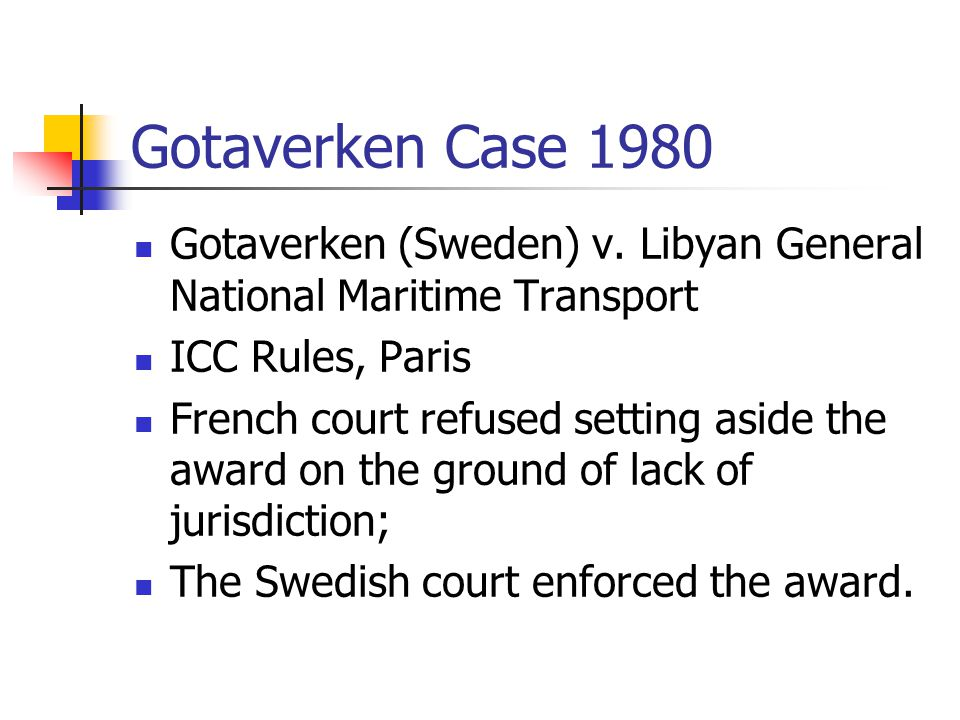 Gotaverken Case 1980 Gotaverken (Sweden) v. Libyan General National Maritime Transport. ICC Rules, Paris.