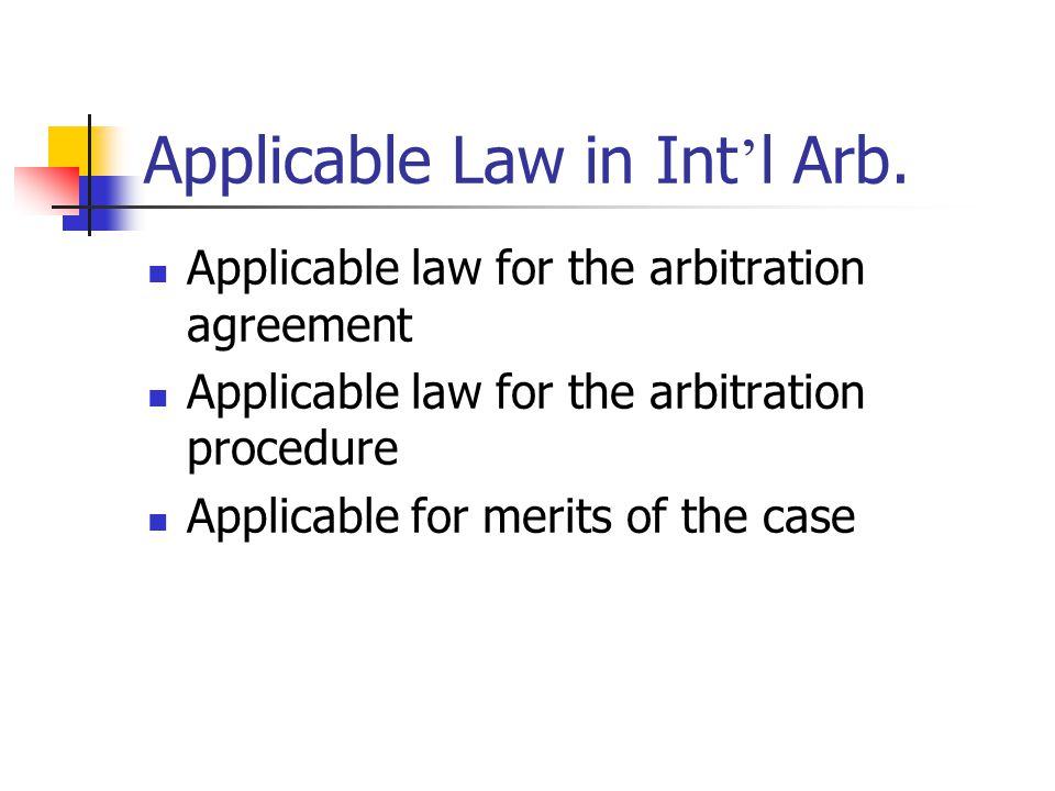 Applicable Law in Int'l Arb.