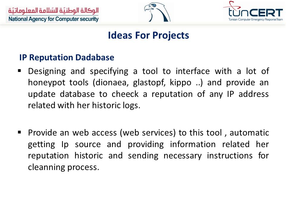 Ideas For Projects IP Reputation Dadabase