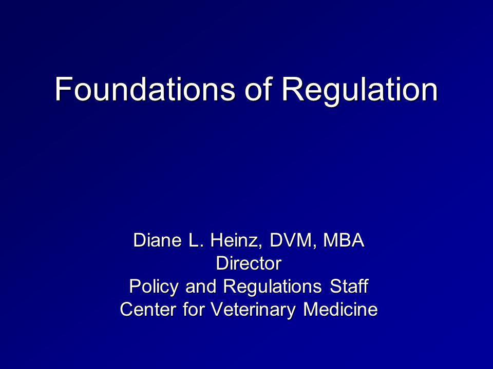 Foundations of Regulation