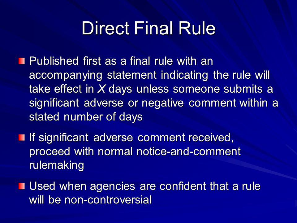 Direct Final Rule